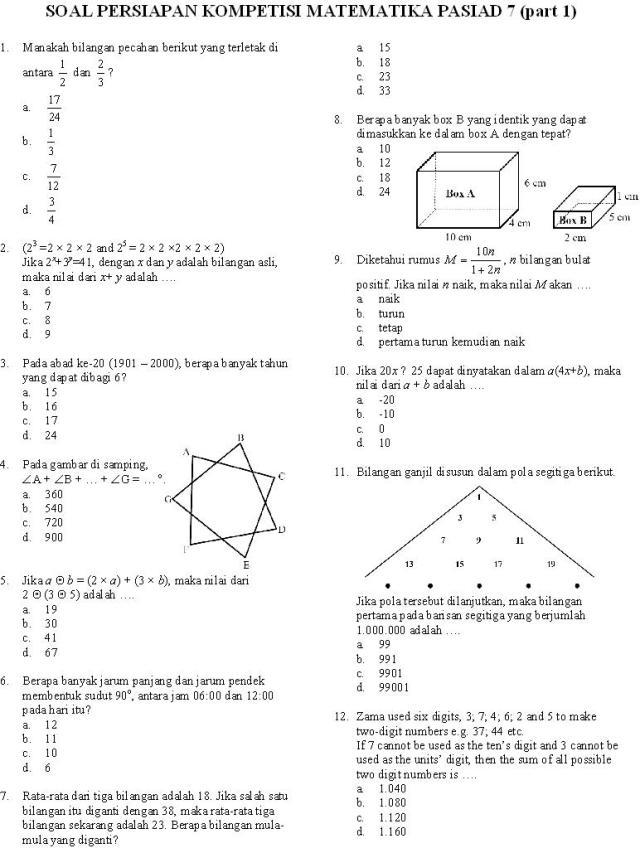 Kompetisi Matematika Pasiad 7 Kmp 7 Budiutomo82 S Blog